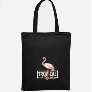 Flamingo print black tote bag